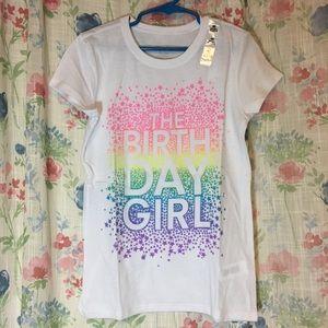 The children's place white shirt birthday day girl